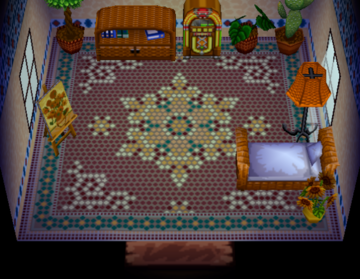 Interior of Mallary's house in Animal Crossing