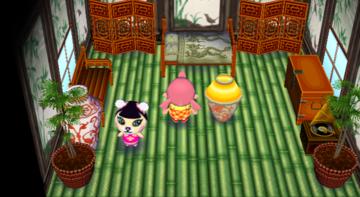Interior of Pekoe's house in Animal Crossing: City Folk