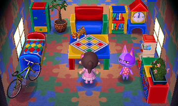 Interior of Bob's house in Animal Crossing: New Leaf