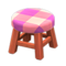 Wooden Stool (Cherry Wood - Pink) NH Icon.png