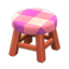 Wooden Stool (Cherry Wood - Pink)