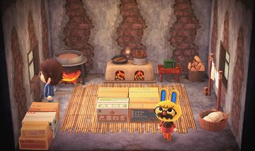 Interior of Gaston's house in Animal Crossing: New Horizons