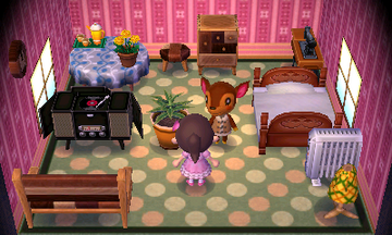 Interior of Fauna's house in Animal Crossing: New Leaf