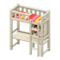 Loft Bed with Desk (White - Red Stripes) NH Icon.png