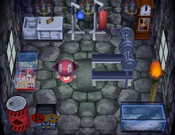 Interior of Gaston's house in Animal Crossing