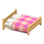 Wooden Double Bed (Light Wood - Pink)