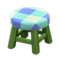 Wooden Stool (Green - Blue) NH Icon.png