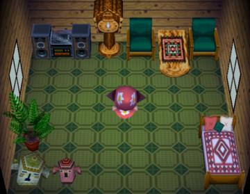 Interior of Biskit's house in Animal Crossing