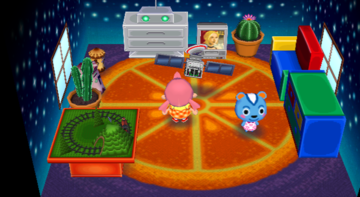 Interior of Filbert's house in Animal Crossing: City Folk
