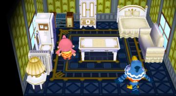 Interior of Pierce's house in Animal Crossing: City Folk