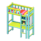 Loft Bed with Desk (Light Blue - Red Stripes) NH Icon.png