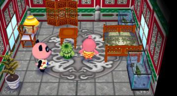 Interior of Chow's house in Animal Crossing: City Folk