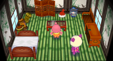 Interior of Pinky's house in Animal Crossing: City Folk
