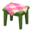 Wooden Mini Table (Green - Pink)