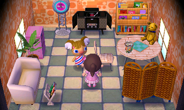Interior of Alice's house in Animal Crossing: New Leaf