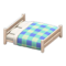 Wooden Double Bed (White Wood - Blue) NH Icon.png