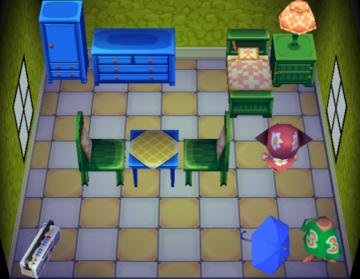 Interior of Ellie's house in Animal Crossing