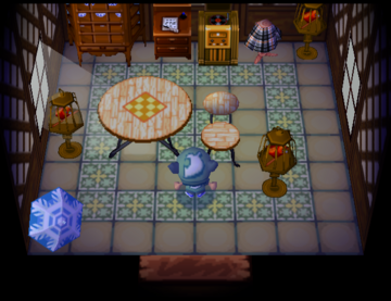 Interior of Robin's house in Animal Crossing