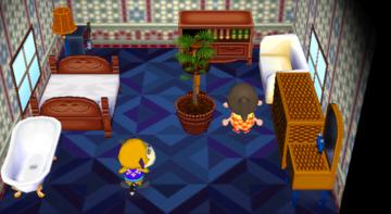 Interior of Tammi's house in Animal Crossing: City Folk