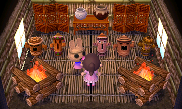 Interior of Coco's house in Animal Crossing: New Leaf