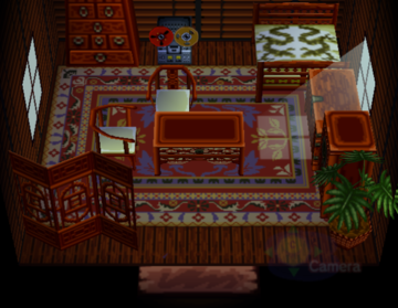Interior of Cousteau's house in Animal Crossing