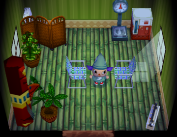 Interior of Freckles's house in Animal Crossing