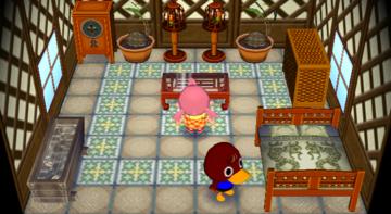 Interior of Bill's house in Animal Crossing: City Folk