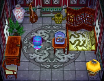 Interior of Chow's house in Animal Crossing