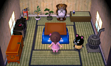 Interior of Hamphrey's house in Animal Crossing: New Leaf