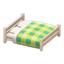 Wooden Double Bed (White Wood - Green)