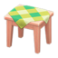 Wooden Mini Table (Pink Wood - Green)