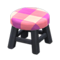 Wooden Stool (Black - Pink) NH Icon.png