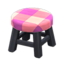 Wooden Stool (Black - Pink)