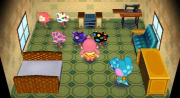 Interior of Alli's house in Animal Crossing: City Folk
