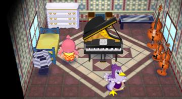 Interior of Becky's house in Animal Crossing: City Folk