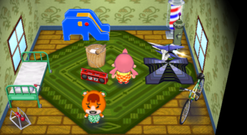 Interior of Pudge's house in Animal Crossing: City Folk
