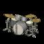 Drum Set (Black & White - Vintage Logo)
