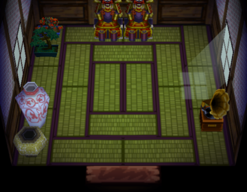 Interior of Iggy's house in Animal Crossing