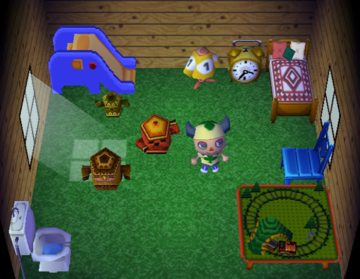 Interior of Dizzy's house in Animal Crossing