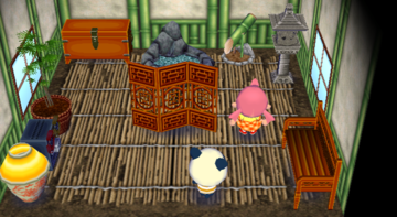 Interior of Chester's house in Animal Crossing: City Folk
