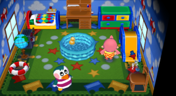 Interior of Iggly's house in Animal Crossing: City Folk