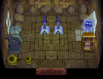 Interior of Lucky's house in Animal Crossing