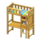 Loft Bed with Desk (Natural - Green Stripes) NH Icon.png