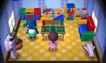 Interior of Axel's house in Animal Crossing: New Leaf