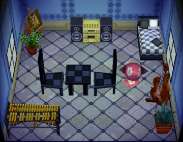 Interior of Bertha's house in Animal Crossing