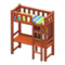 Loft Bed with Desk (Brown - Green Stripes) NH Icon.png