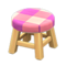Wooden Stool (Light Wood - Pink) NH Icon.png