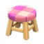 Wooden Stool (Light Wood - Pink)