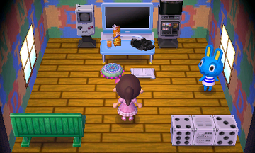 Interior of Hopkins's house in Animal Crossing: New Leaf