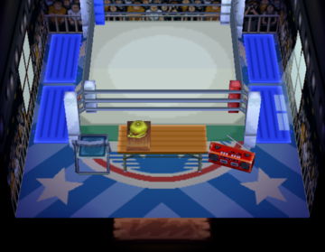 Interior of Stinky's house in Animal Crossing